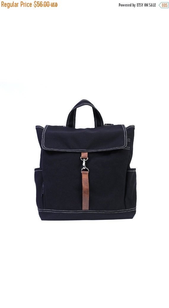 20% SALE back to school KYLE // Black / Lined with Beige / 090 // Ship in 3 days // Backpack / Diaper bag / Shoulder bag / Tote bag / Purse