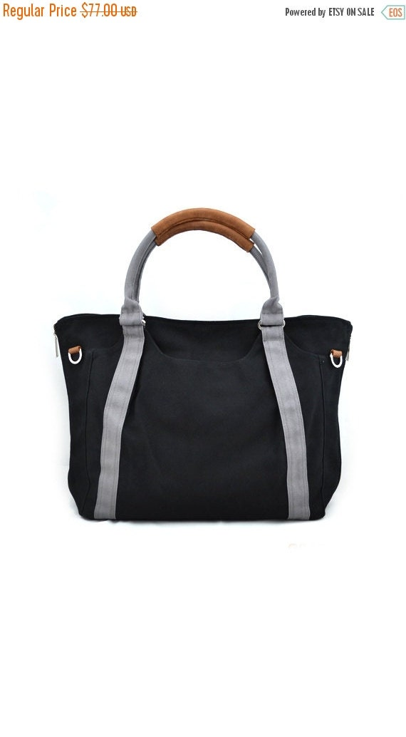 Winter Sale 15%off HOLLY // Black with Grey Handle / Lined with Grey Stripes / 080 // Ship in 3 days // Diaper bag / Shoulder bag / Tote bag