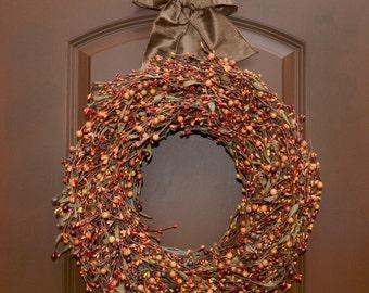 Fall Wreath - Halloween Door Decor - Wreath Hanger Included