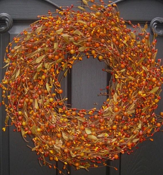 Fall Wreath -  Berry Wreath -  Autumn Wreath - Outdoor Wreath - Pumpkin Berry Wreath