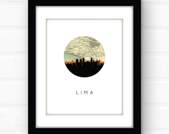 Lima, Peru map print | Peru map art | Peru poster | South America map art print | travel souvenir print | South America city art