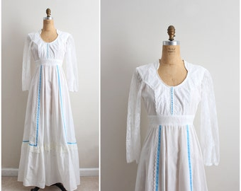70s Boho Wedding Dress / Hippie Prairie Tiered Wedding Maxi Dress / Polka Dot Wedding Dress/ Size XS-S