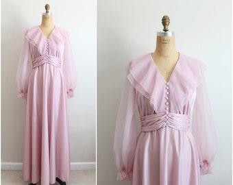 70s Soft Pink Maxi Dress / 1970s Dress / Bridemaids dress / Size S/M