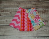 Baby Girl Burp Cloths Owl Pink Orange Burp Cloth Set - Girl Burp Rags Pink Orange Woodland Creatures