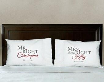 Items Similar To Mr Amp Mrs Pillowcase Set On Etsy