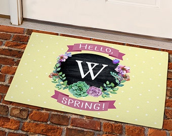 Springtime Floral Personalized Welcome 18x24 Doormat -gfy831100117S