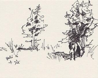 Horse Original Ink Sketch, Animal Art, Contemporary Original Fine Art, Study