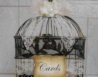 Small Birdcage Wedding Card Holder / Birdcage Cardholder / Wedding Birdcage / Vintage Wedding Decor / Shabby Birdcage Cardholder / Wedding