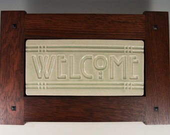 Welcome Tile - Arts & Crafts Mission Style Craftsman Frame - Celadon Green Crackle Gloss Glaze