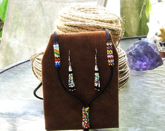 Native American Beaded Lanyard & Earrings Choctaw Whimsy