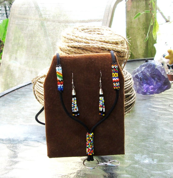 Choctaw Beads: Native American Beaded Lanyard & Earrings Choctaw Whimsy