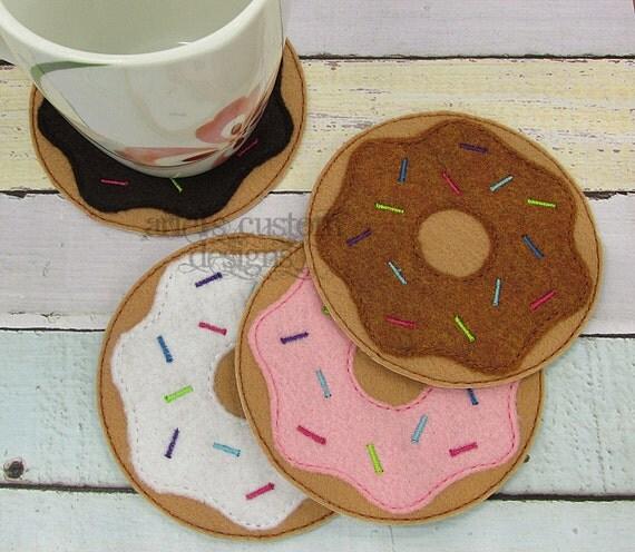 Donut Embroidered Coaster Set Donut Mug Rug Coffee Coaster