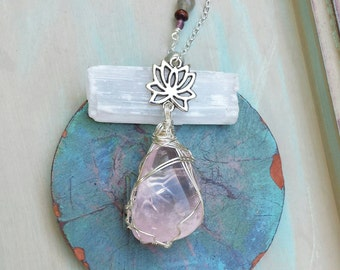 Made-to-Order * Rose Quartz Wirewrapped Necklace, Silver, Lotus, One-of-a-kind *Made-to-order*