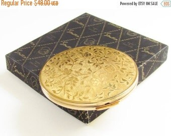 SaLe Vintage Stratton Powder Compact Gold Rose Original box