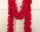 Red Ruffle Scarf, Knitted Scarf, Gifts for Her, Valentine Gift, Teacher Gift, Ladies Scarf, Handmade Gift, Birthday Gift, Mother's Day Gift