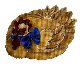 Vintage Melissa Shirley Needlepoint Canvas Nesting Hen Chicken Hand Painted Needlepoint 134-G 1986 Rare