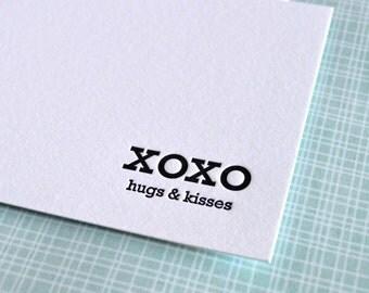 xoxo hugs & kisses mini notecard :  letterpress