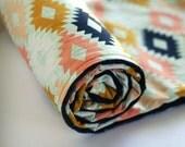 Arizona Aztec Minky Baby Blanket, Tribal Nursery Bedding, Peach Gold Mint Navy, Southwestern Nursery Bedding, Arizona Agave Field Kilim