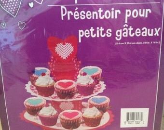 Cupcake stand cupcake cardboard stand red pink hearts