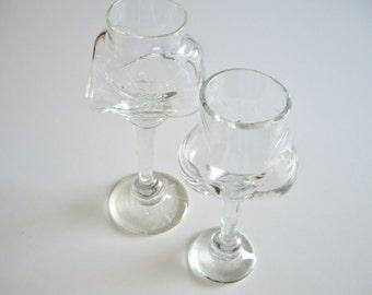 Vintage Glass Goblets, Daniel Crichton, Art Glass, Studio Glass, Sheridan College, Mid Century, Signed, Organic, mcm, Canadian, Rare