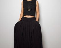 Black Skirt - Black Maxi Skirt-  Long Black Skirt : Urban Chic Collection No.2