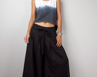 Long Black Pants / Black Cotton Wide Leg Pants :  Soul of the Orient Collection