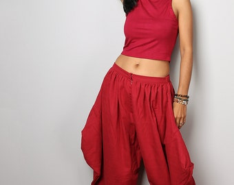 Harem Pants / Wide leg pants / Red Cotton Pants : Nature Touch Collection