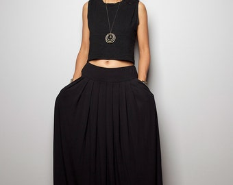 Black Skirt - Black Maxi Skirt-  Long Black Skirt : Urban Chic Collection No.2