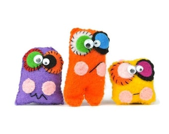 Plush mini monsters set of 3. Kids charm cuddly toys. Party Favors & Gifts for kids. Mini dolls party toy or pocket pal. Best Friend favors