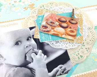Donut Paper Embellishment Clusters | Scrapbooking Embellishments Donut paper cuts. Paper Doily Embellishment Doughnuts . Scrapbooks Crafts