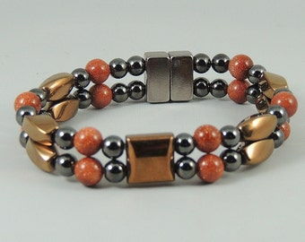Colorful Goldstone, copper and black Magnetic Hematite Bracelet