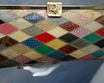 CHRISTIAN DIOR Vintage Snakeskin Patchwork Clutch Purse