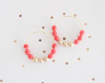 Beaded Earrings, Beaded Hoop Earrings, Large Hoop Earrings, Red Coral and Gold Faceted Bead Earrings