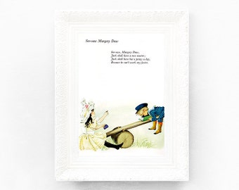 8x11 See Saw Margery Daw Vintage Nursery Rhyme Print. Vintage Nursery Print. Poem Print Bedroom Grahame Johnstone