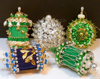 Christmas Hand Crafted Fancy Beaded Ornaments Vintage 1970s
