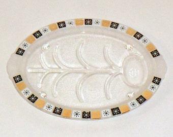 Sale Large Meat Serving Platter Oval Glass Vintage Fire King Atomic Starburst Black Gold 1950s