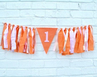 Girl Birthday Banner - PUMPKIN Birthday Banner - girl 1st birthday banner - Girl Birthday Decor - Fall Birthday banner - girl birthday decor