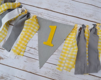 1st Birthday Garland - girl Felt birthday banner - you are my sunshine party - grey giraffe party - high chair banner - yellow birthday