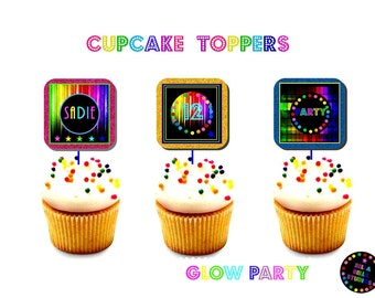 GLOW Party Cupcake TOPPERS ~ Personalized Printable Download