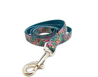 Moroccan Print Dog Leash, Teal Dog Leash