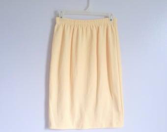S A L E!!!  Vintage Yellow Cotton Pencil Skirt - Vintage Skirt - Summer Skirt