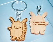 """Lucky Rabbit keychain - Flat Bonnie """"Good Luck"""" bunny key ring / hook / zipper pull / charm - Laser cut and engraved wood."""