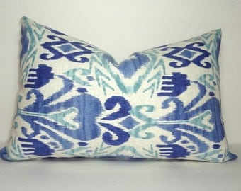 SALE OUTDOOR Ikat Blue Indoor/Outdoor Pillow Cover Porch Decorative Pillow 12x18