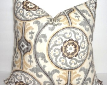 Grey & Tan Suzani Medallion Print Decorative Pillow Cover Suzani Throw Pillow Cover Size 18x18