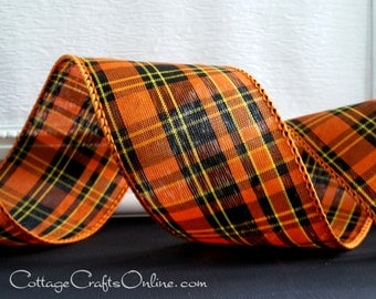 "Halloween Wired Ribbon, 2 1/2"" wide,  Plaid Orange, Black, Yellow - TEN YARDS - Offray ""Halloween Tartan"" Fall Wire Edged Ribbon"