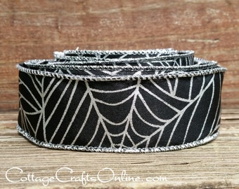 "Halloween Wired Ribbon, 1 1/2"" Black Spider Web Print  - TEN YARD ROLL -  Silver Metallic Web Print on Faux Linen Craft Wire Edged Ribbon"