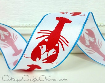 """Wired Ribbon, 1 1/2"""", Red  Lobster Print on White, Turquoise Edge - TWENTY FIVE YARD Roll, Offray - Summer, Nautical, Wire Edged Ribbon"""