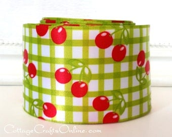 "Wired Ribbon, 2 1/2"" Red Cherries, Green Check Satin - TEN YARDS - Offray ""Cherries"" Spring, Summer, Fruit Print Wire Edged Ribbon"