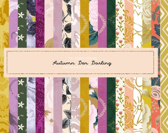 Woodland Autumn den darling Glitter Fall pattern paper Floral Clipart Graphic Hand Painted ...