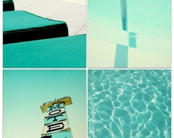 mid century wall art // 60s motel pool // vintage vacation -  four retro art prints on canvas